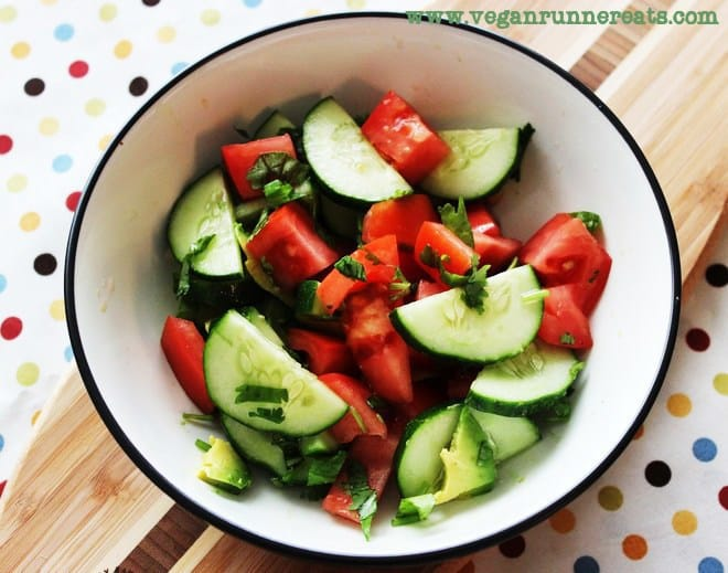 Fresh cucumber-tomato salad
