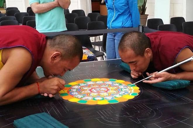 Buddhist monks painting