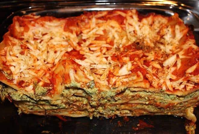 Healthy vegan lasagna with tofu and veggie filling