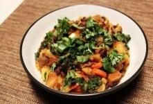 Vegan Oil-free Black Bean-Potato Stew with Kale
