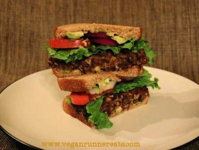 vegan black bean burger with tempeh