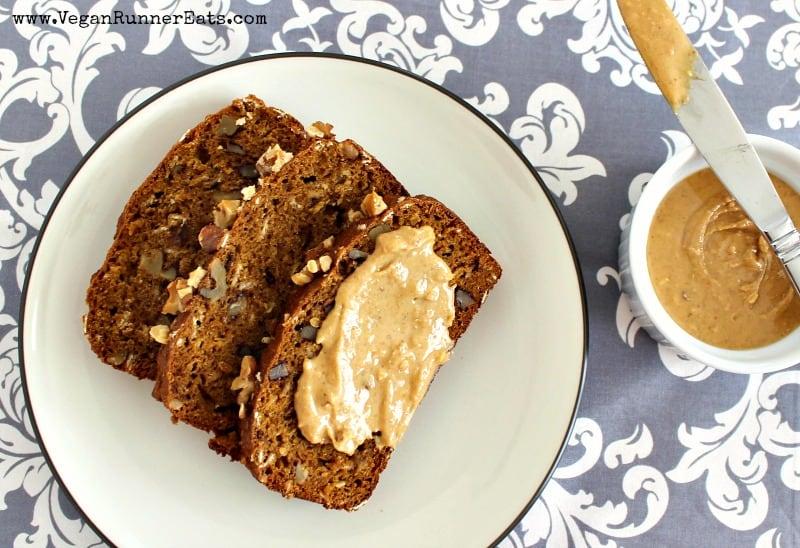 Plant based pumpkin bread recipe - oil free, egg free, refined sugar free