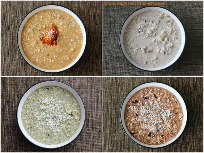 Vegan overnight oats, served 4 ways