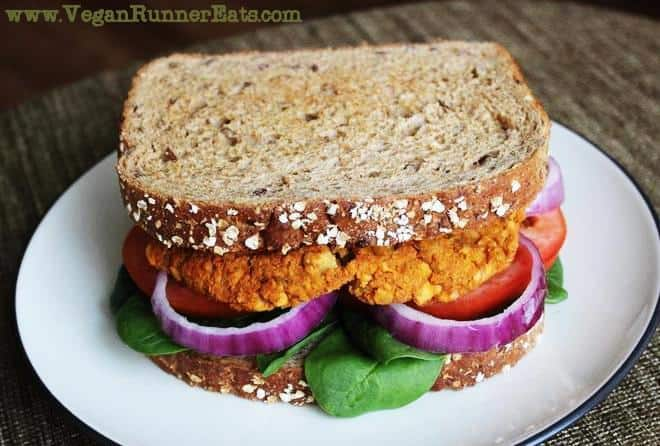 Homemade vegan burger patty with chickpeas and sweet potatoes