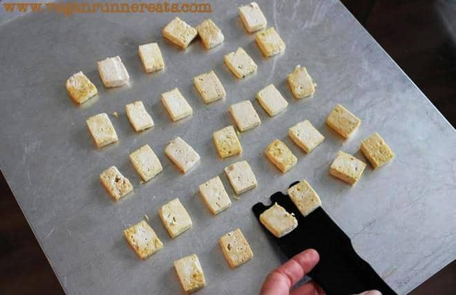 How to bake tofu with little to no oil: a simple technique.