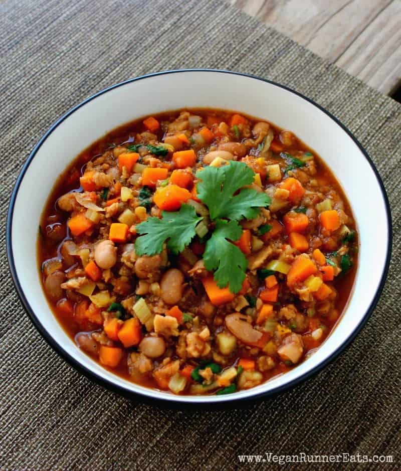 Vegan chili with sweet potatoes and TVP - high protein vegan chili recipe