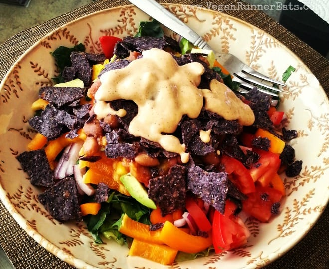 Vegan Taco Salad with Chili and a Creamy Chipotle Dressing