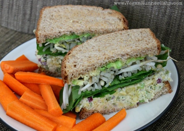 5 vegan work lunch ideas: chickpea salad sandwich