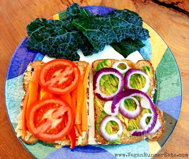 5 vegan lunch ideas on the go: veggie and hummus sandwich