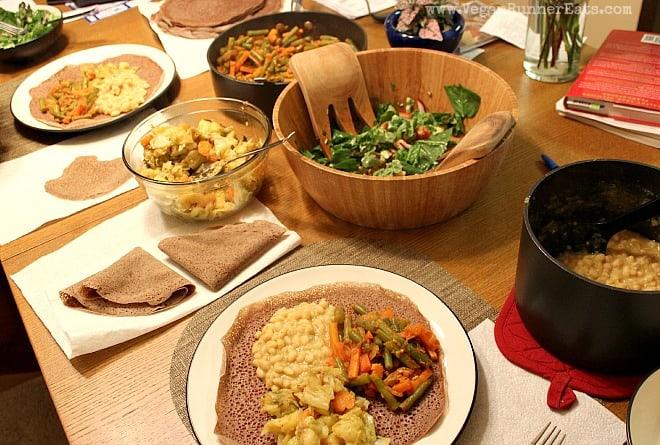 Vegan Ethiopian food from Teff Love by Kittee Berns - Ye'Atakilt Alicha, Hirut's Fasolia, Ye'nech Bakela Alicha
