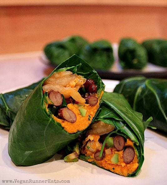 Collard Wraps with Kimchi-Sweet Potato Filling