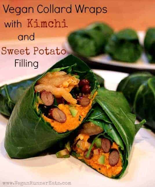 Collard Wraps with Kimchi and Sweet Potato Filling
