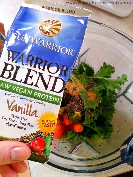 Sunwarrior Warrior Blend Vanilla Protein in a smoothie