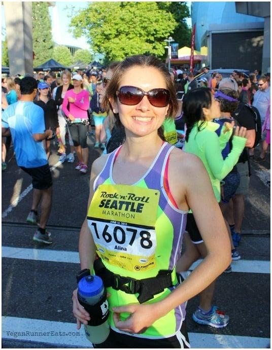 Before the start at Rock'n'Roll Seattle Marathon