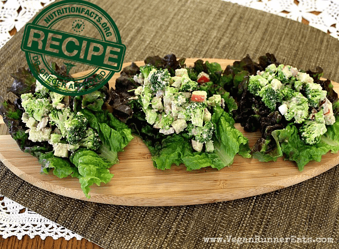 Broccoli-Apple Winter Salad Tacos - vegan recipe approved by NutritionFacts.org