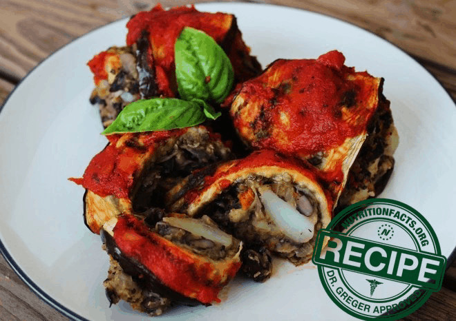 Eggplant Roll Ups with Black Bean-Potato Filling - a vegan recipe approved by Dr. Michael Greger