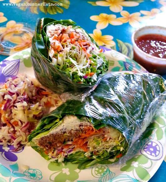 Vegan lunch at Joy's Place in Kihei, Maui, Hawaii