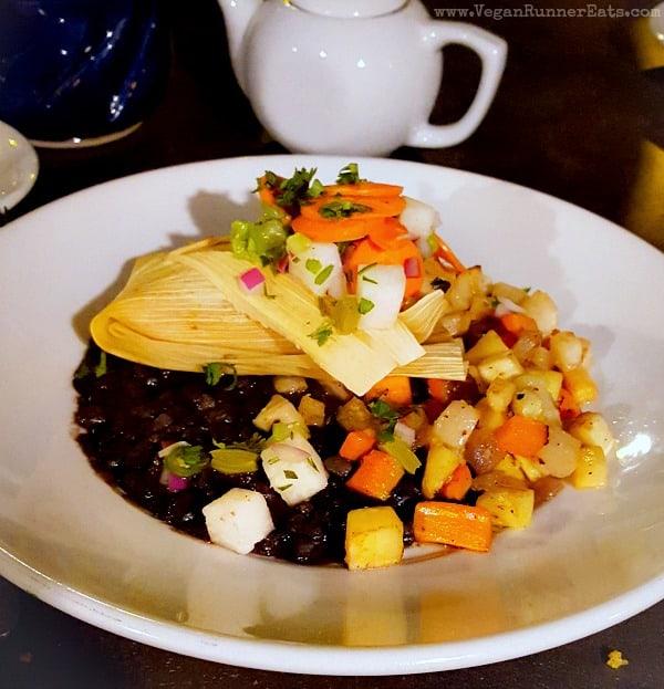 Vegan Tamale Verde at Millennium restaurant in Oakland, CA