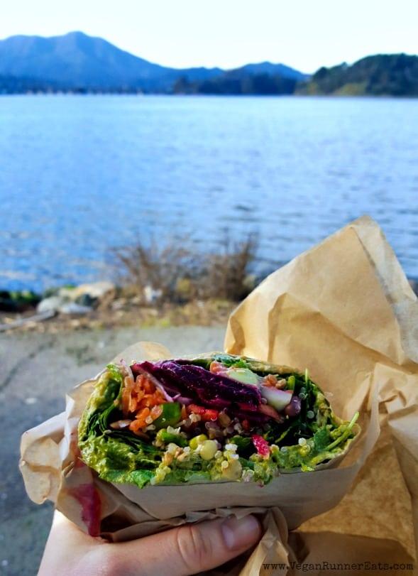 Vegan veggie wrap from Davey Jones Deli in Sausalito, CA