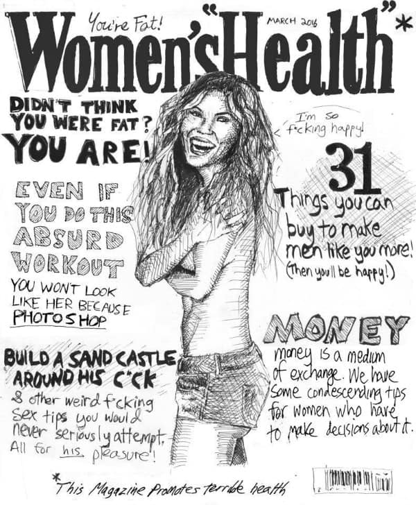 Satyrical Women's Health magazine cover rendition by David London