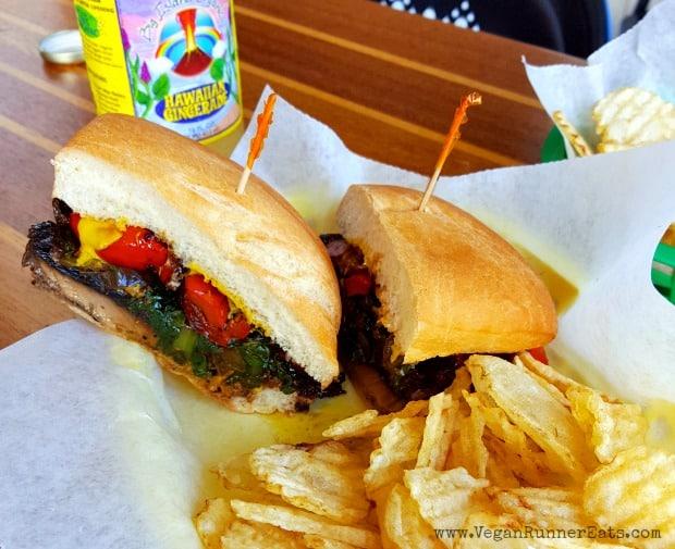 Vegan-friendly restaurants on the Big Island of Hawaii: portobello sandwich at Local Dish in Hawi