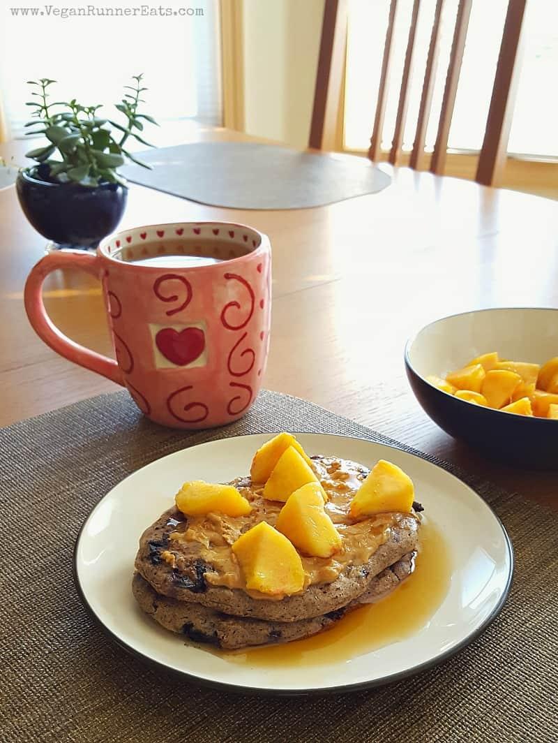 Plant-based multigrain pancakes with chocolate chips & blueberries   vegan pancakes recipe   vegan breakfast recipe   oil-free pancakes   WFPB breakfast