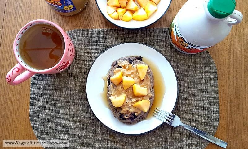 Vegan chocolate chip-blueberry pancakes   vegan pancakes recipe   vegan breakfast recipe   oil-free pancakes   WFPB breakfast