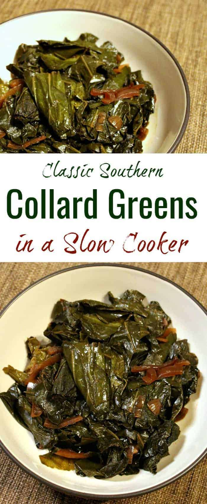 This classic slow cooker vegan collard greens recipe makes perfectly smoky, delicious Southern-style collard greens that will please even omnivores. An ideal side dish for Thanksgiving or New Year's, or for a casual Sunday dinner. | slow cooker collard greens | slow cooker collard greens recipe | Southern collard greens recipe | vegetarian collard greens | meatless collard greens | wfpb collard greens | #vegancollardgreens #collardgreens #collardgreensrecipe