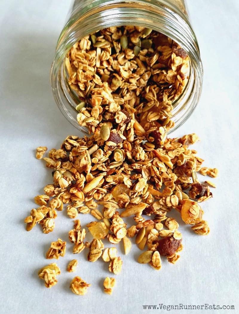 Healthy homemade vegan banana-orange granola recipe