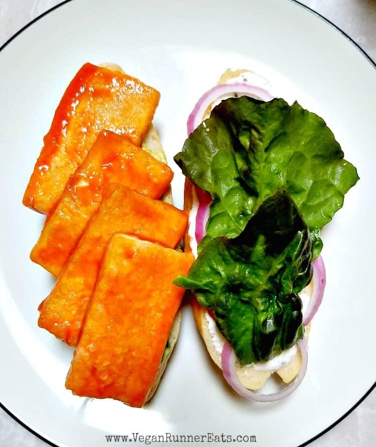 Vegan buffalo tofu sandwich recipe