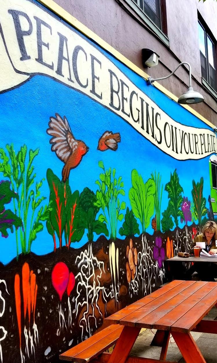 Mural outside of the Homegrown Smoker vegan restaurant in Portland OR