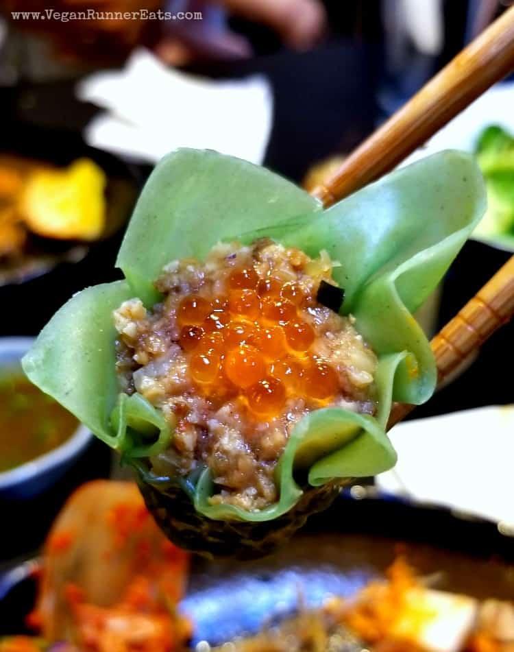 Vegan dumplings at Ichiza Kitchen and Tea House vegan restaurant in Portland OR