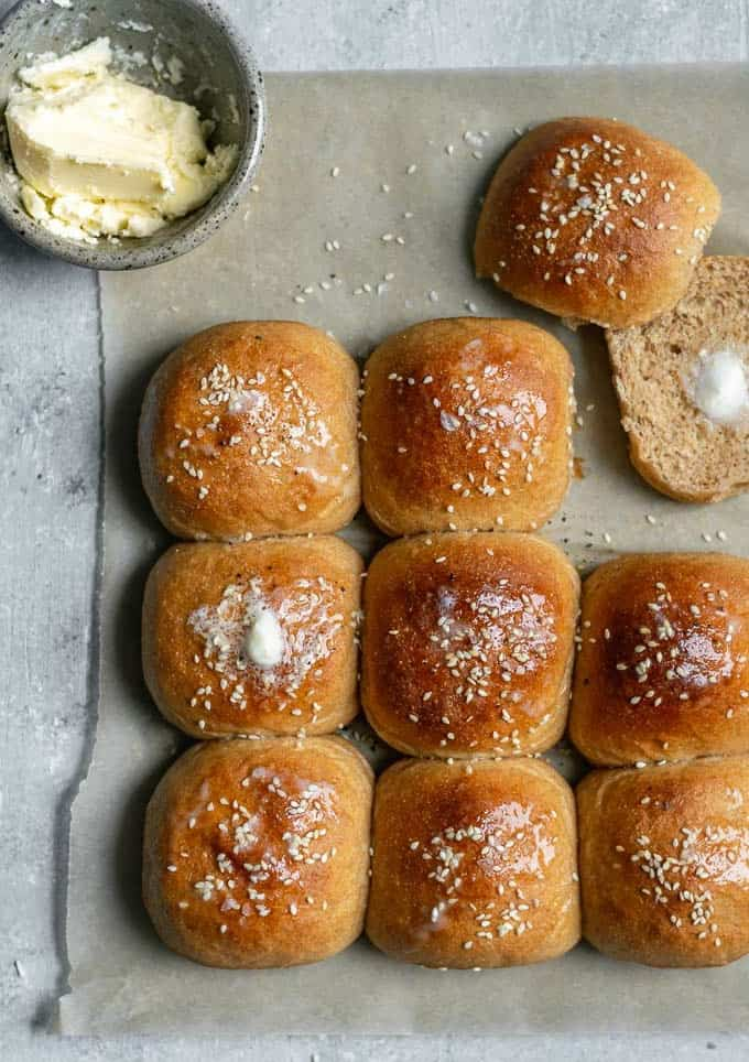 50 best vegan Thanksgiving dishes: Soft Whole Wheat Rolls from The Curious Chickpea