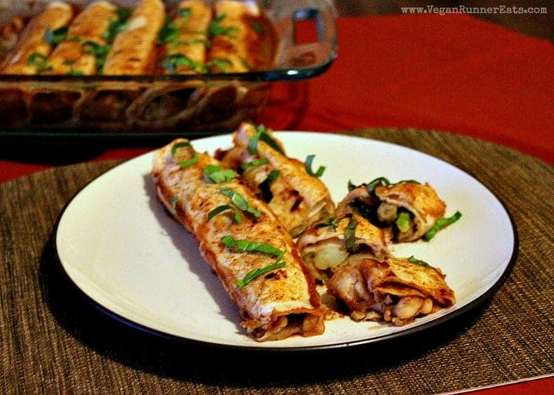 Plant-based enchilada recipe with veggie filling