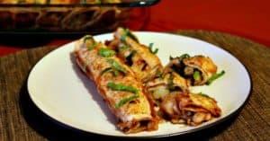 Plant-based vegan enchilada recipe with potato and veggie filling