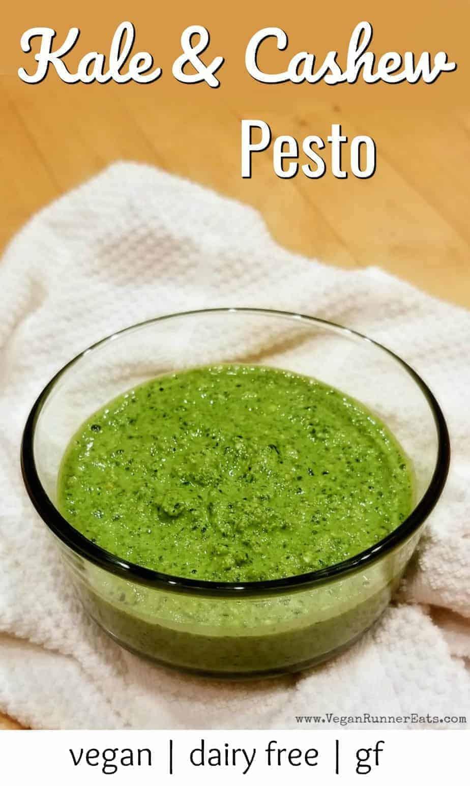 Kale and cashew pesto recipe - vegan pesto recipe with kale basil and pesto