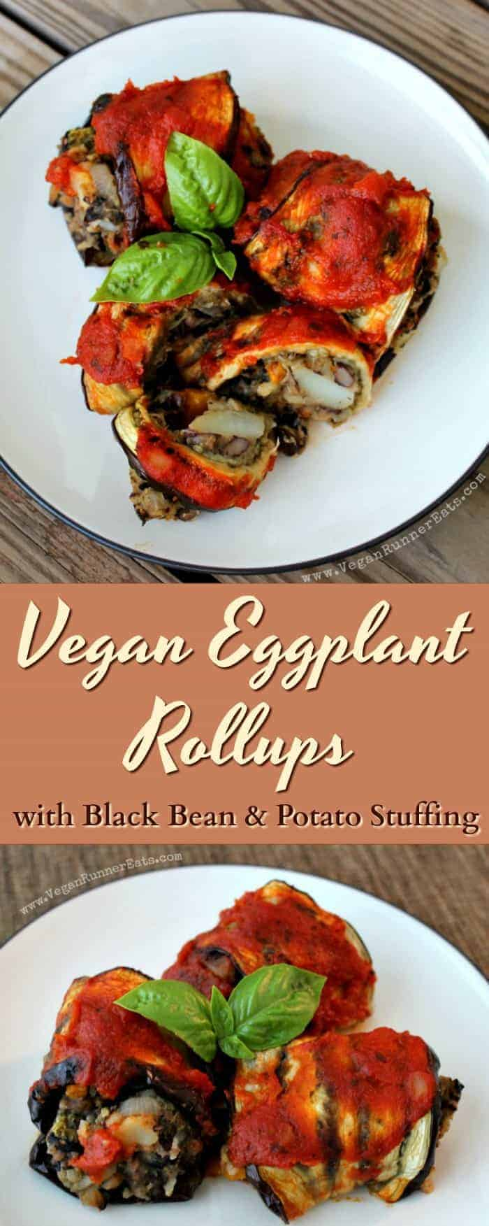 Vegan eggplant roll ups with black bean and potato stuffing - a delicious plant-based twist on a tradition Italian rollatini recipe. Roasted eggplant is stuffed with a potato-veggie filling and baked with pasta sauce. | vegan main course recipes | vegan eggplant recipes | vegan recipe ideas | vegan eggplant roll ups | vegan eggplant rollatini | eggplant roll ups recipe | #veganeggplantrecipes #veganmaincourserecipes #vegetarianeggplantrecipes #veganrecipes #vegandinner