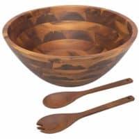 Aidea Acacia Wooden Salad Bowl - 12.5 Inch Hardwood with Servers 3-Piece Set