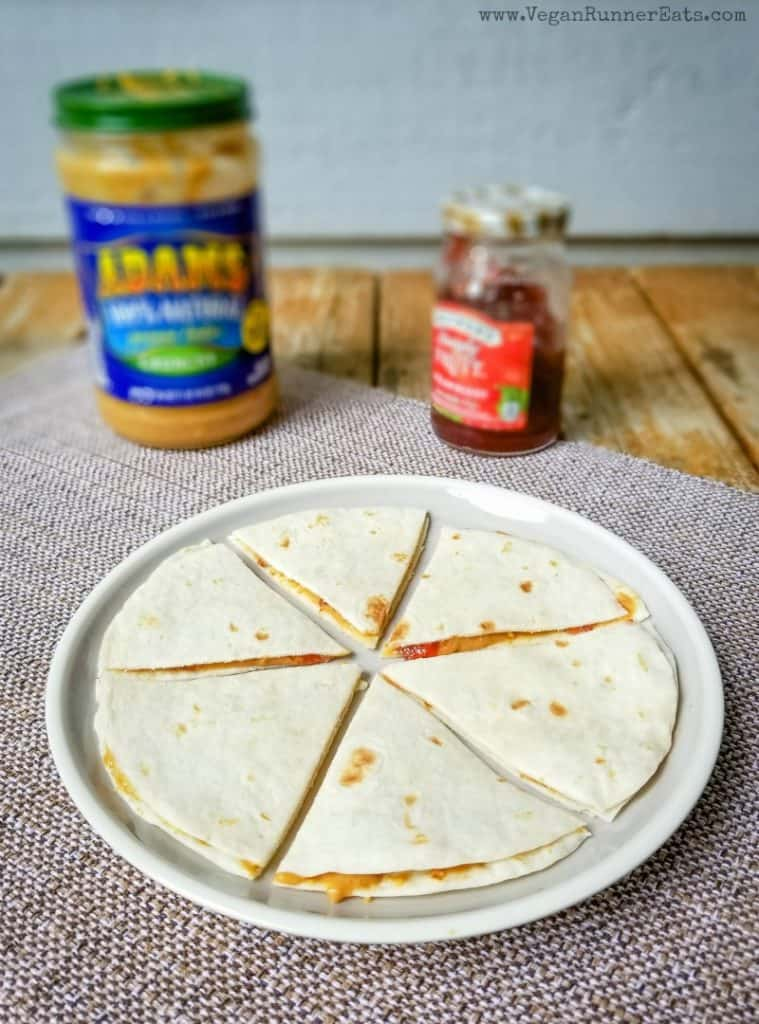 40 vegan snacks for kids: peanut butter and jelly quesadillas