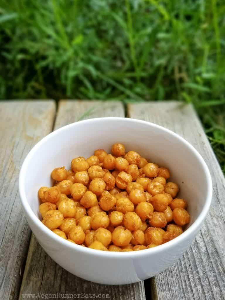 40 vegan snacks for kids. Pictured: roasted seasoned chickpeas.