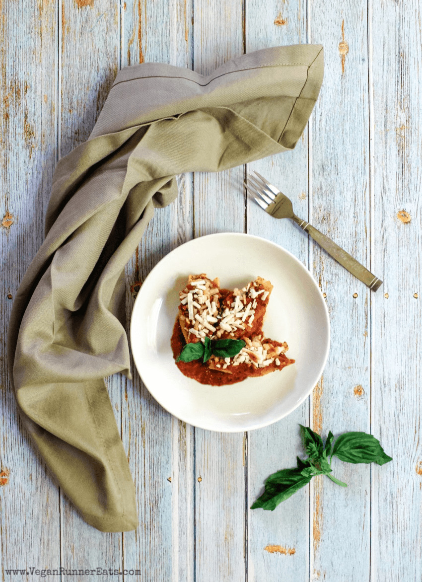 Vegan stuffed shells made with vegan ricotta cheese and spinach