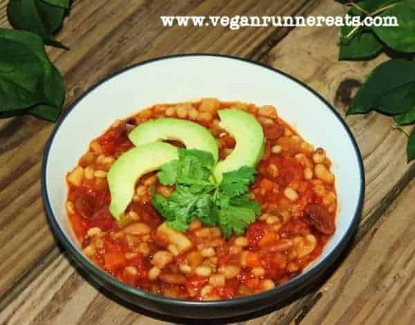 Vegan three bean chili with barley