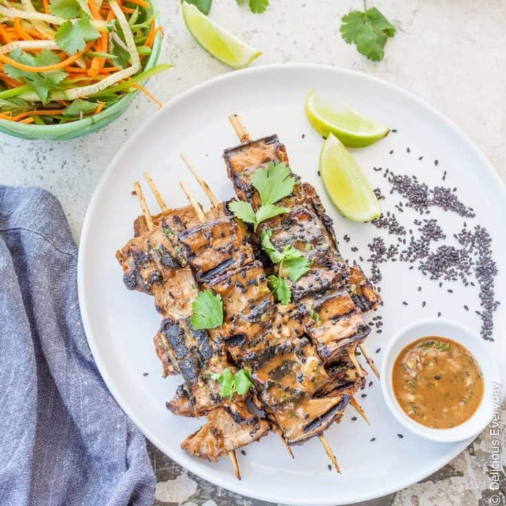 Grilled Eggplant Tahini Satay Kebabs (Gluten-free)