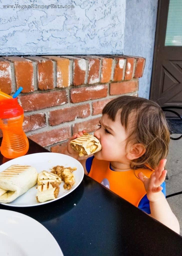 Vegan food in Leavenworth, WA - banana wrap at the Local Yokel