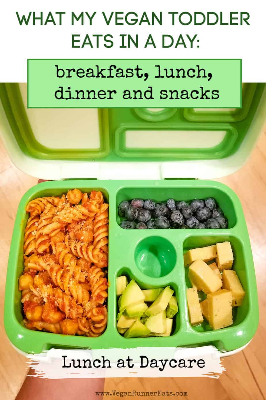 What my vegan kid eats in a day: an example of my vegan toddler's menu for a day, including breakfast, lunch, dinner and snacks.   Vegan Runner Eats