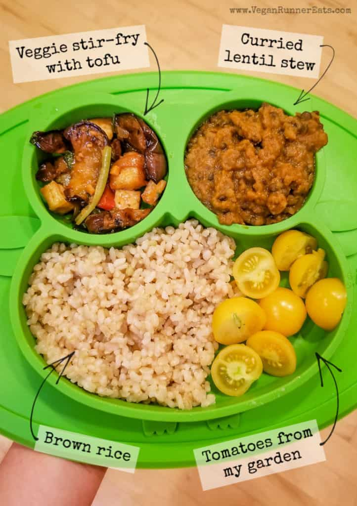 What vegan kids eat for dinner: an example of a dinner for my vegan 2 year old