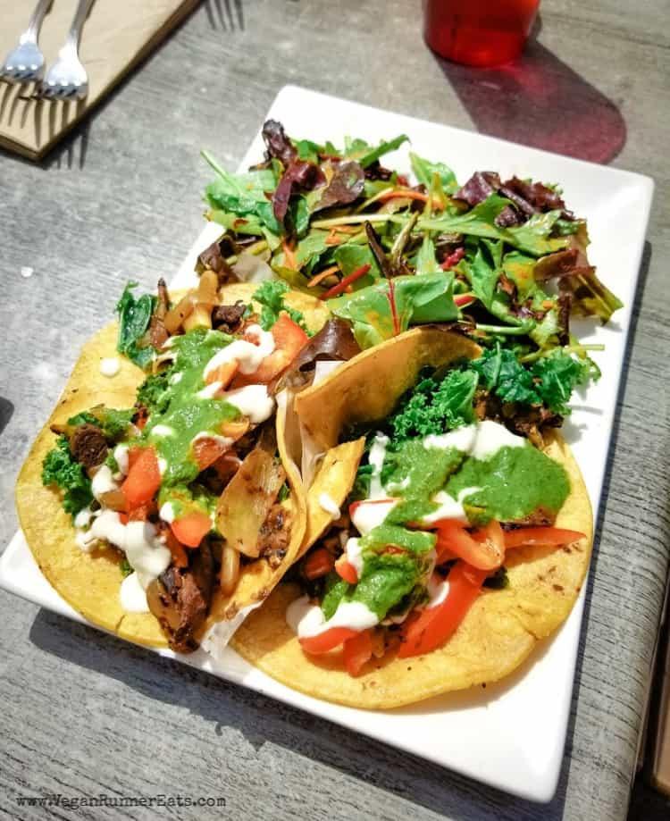 Vegan brunch San Diego - Cali tacos at Trilogy Sanctuary