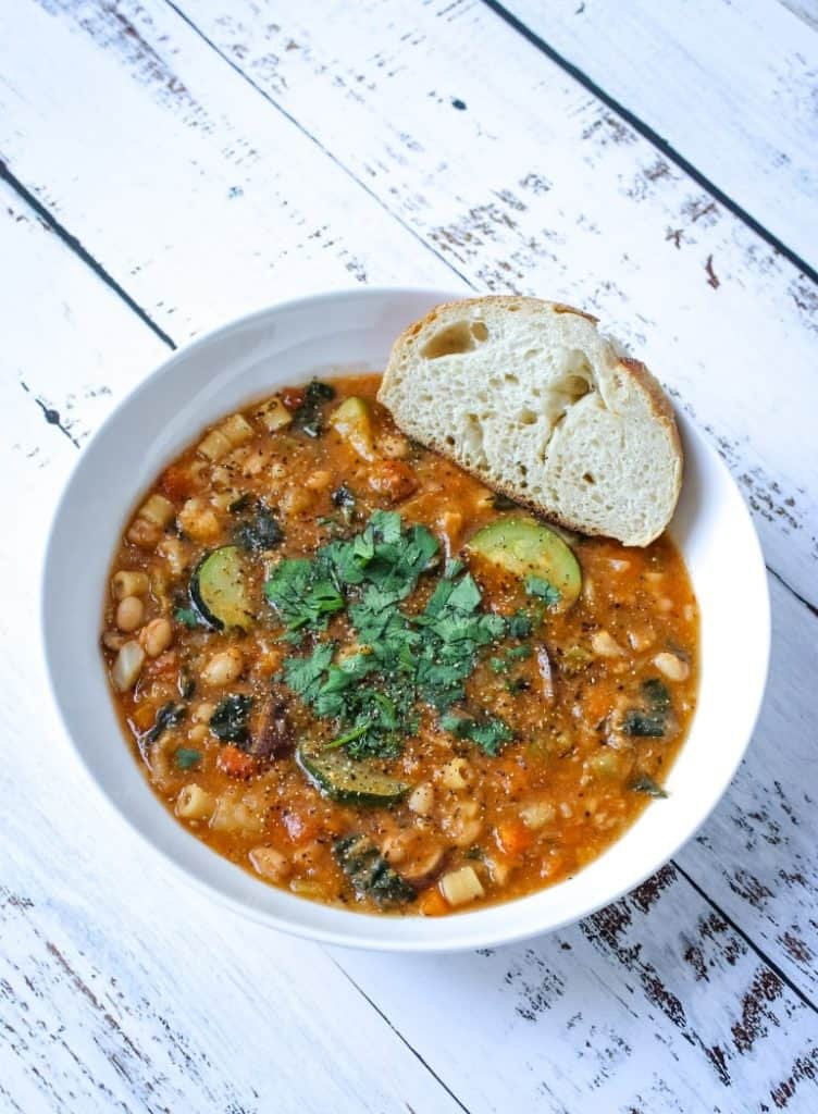 Oil-free and dairy-free minestrone soup recipe for Instant Pot or stovetop.