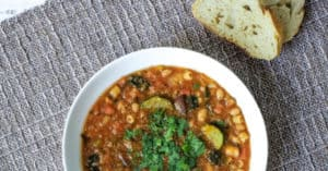 Vegan minestrone soup made in pressure cooker