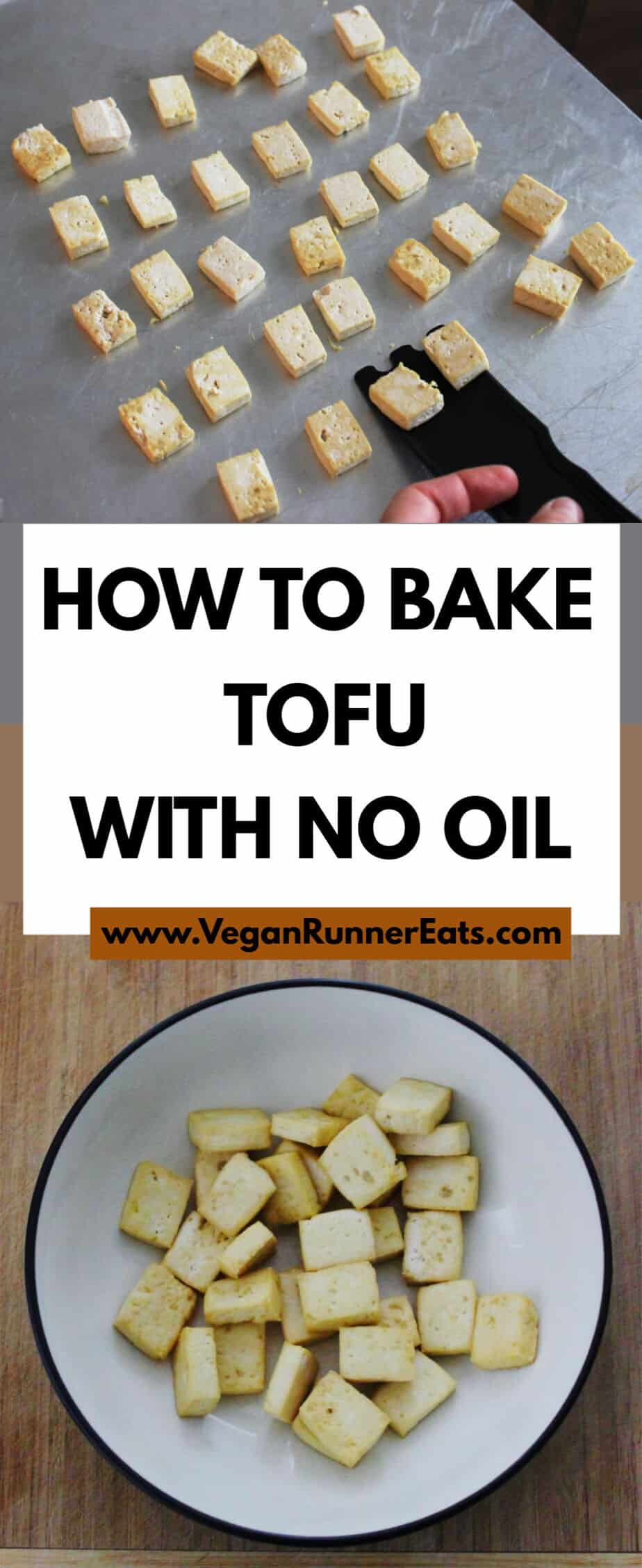 How to make crispy baked tofu with no oil: a basic method for baking oil-free tofu for use in plant-based stir-fries, soups, salads, etc. | Vegan Runner Eats